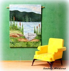 """Contemporary Vintage Dollhouse Accessory Vermont Marshland Art Quilt 3 4"""" 1"""" Vintage Dollhouse, Contemporary Quilts, Dollhouse Accessories, Selling On Ebay, Vermont, Tapestry, Dollhouses, Walks, June"""