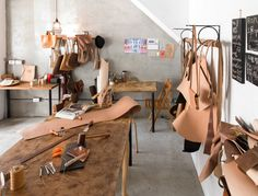 LEATHER WORKSHOP --- Make sure to check out the link. love the way they hang leather.