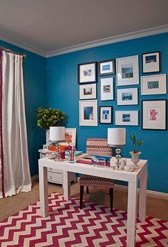 Bright teal office + zigzag rug: Benjamin Moore 'Electric Blue' by xJavierx, via Flickr