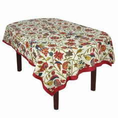Amazon.com - ShalinIndia Rectangle Spring Tablecloth Cotton Floral 60x90 Inches Cream Maroon. This is a rectangular 60 x 90 inch tablecloth in good quality 200 thread count cotton fabric. Artisans of Jaipur have crafted these tablecloths in Indian floral themes and bright spring and summer colors. Both colors and the designs are very pleasing to the eyes. The colors do not bleed and the tablecloths can be washed in machines.