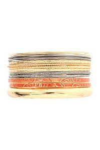 Coral Gold And Hematite Bangles 13 Pack | Bangles