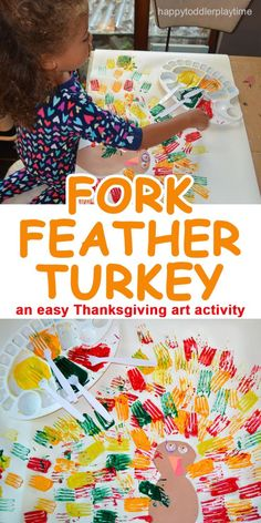 FORK FEATHER TURKEY HAPPY TODDLER PLAYTIME : Easy turkey art for fall! This Fork Feather Turkey creative Thanksgiving art activity for toddlers and preschooler, and a great way to practice their fine motor skills this fall. Art Activities For Toddlers, Autumn Activities, Fall Art For Toddlers, Toddler Gross Motor Activities, Easy Crafts For Toddlers, Toddler Learning, Learning Activities, Daycare Crafts, Classroom Crafts