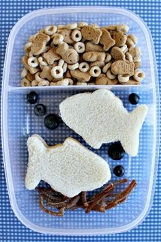 This simple Sea Life Lunch is made by cutting a sandwich with a fish-shaped cookie cutter. There is also fruit strip seaweed, blueberries make fun bubbles, and the top section is filled with Goldfish crackers and Cheerios.