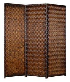 Three-Panel Albata Privacy Screen in Dark Brown Wavy Weave