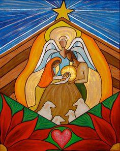 Navidad Natividad escena Original pintura de acrílico sobre lienzo OOAK