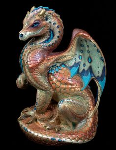 "WINDSTONE ""ROCOCO #1"" SECRET KEEPER DRAGON FIGURINE; FANTASY STATUE"