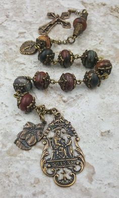 St Anne St Anthony Bronze Handcrafted Picasso Jasper Rosary Chaplet Tenner for Stress, Protection, Balance