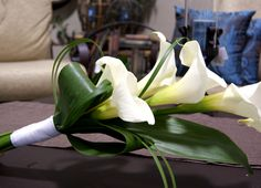 Bridal Bouquet with white calla and lily grass