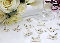 Paper swallow bird wedding confetti 200 ivory vintage by XercesArt, £4.00