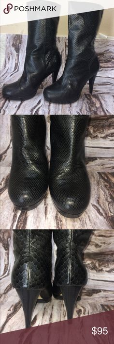 Faux leather snake skin heeled boots Faux leather snake skin heeled cole haan heeled boots. Perfect condition! Gorgeous snake skin detail. Matte finish. 4 inch heel. Cole Haan Shoes Heeled Boots