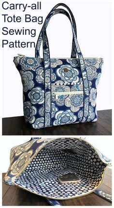 This large everyday purse to sew has a zipper closure along the top, and plenty of pockets inside and out to carry everything. Easy tote bag sewing pattern that beginner Handbag Patterns, Bag Patterns To Sew, Sewing Patterns, Quilted Purse Patterns, Fabric Tote Bags, Diy Tote Bag, Zippered Tote Bag, Sew Tote Bags, Tote Purse