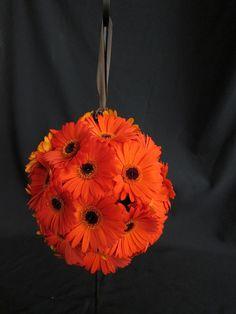 orange gerbera daily kissing ball for flower girl