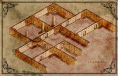 Plan isométrique d'exemple pour l'aide de jeu l'abbaye au mille pièges Adventure Map, Mille, Maps, Gaming, Blue Prints, Map, Cards