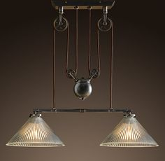 Industrial Pulley Double Pendant Lamp  Restoration Hardware  I like it