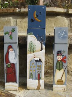 PM Holly Jolly Clothespins - a decorative painting pattern packet by Paula McBee