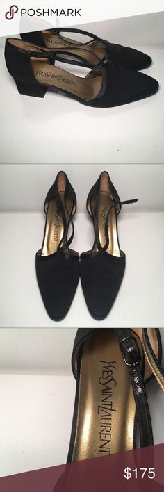 Yves Saint Laurent Black Satin Pointed Toe Pumps VINTAGE Yves Saint Laurent Black Satin Pointed Toe Strap Pumps SZ 6.5 Made in Italy 🇮🇹 EUC 🇮🇹 Yves Saint Laurent Shoes Heels
