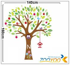 Free Shipping 140*160cm  Vinyl Wall Sticker Colourful Apple Trees With Birds And Owl /Kids Nursery Room Wall Decal Manufacturer $11.99