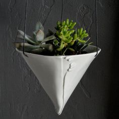 Porcelain hanging planter by taylor ceramics - look at the detail by the seam