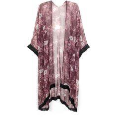 EASTER SALE Hand-Made Floral Fringe Kimono Kaftan found on Polyvore featuring polyvore, fashion, clothing, tops, cardigans, outerwear, jackets, floral kimono cardigan, floral print cardigan and floral fringe kimono
