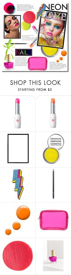 """Neon Beauty"" by rocio-martinez-1 ❤ liked on Polyvore featuring beauty, shu uemura, OTTO, Bomedo, Obsessive Compulsive Cosmetics, Happy Embellishments, MAC Cosmetics, Topshop, Stephanie Johnson and Lipstick Queen"