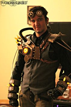 ChemicalPunk - LIGHT UP Steampunk bioshock chest piece/armor, light up gauntlets, and goggles set. $987.00, via Etsy.