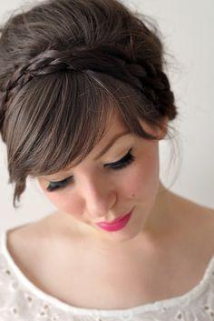 love the bangs, braid, and lipstick