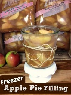 Pies) – Spend With Pennies Freezer Apple Pie Filling! This is an awesome way to preserve apples… and my girls love eating it just on it's own! Freezer Cooking, Freezer Meals, Freezer Recipes, Apple Recipes To Freeze, Crockpot Recipes, Apple Desserts, Delicious Desserts, Yummy Food, Baking Desserts