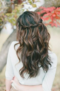 dark (almost black) hair with pretty highlights-- looks good straight too