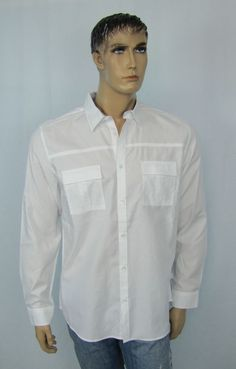 Calvin Klein Shirt Long Sleeve Men's White Button Down Shirt Size L NEW #CalvinKlein #ButtonFront 31.99