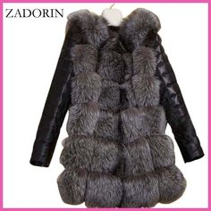 S-4XL Fashion Winter Coat Women Thick Faux Fox Fur Coat with PU sleeve Female Fake Fur Jacket gilet chalecos de pelo mujer