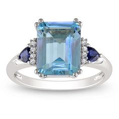 Miadora 14k White Gold Blue Topaz, Sapphire and Diamond Accent Cocktail Ring (Size 10.5), Adult Unisex