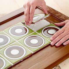 Kitchen Cabinet Makeover: Tiled Cabinet Doors