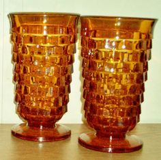 Two 2 Amber Gold Fostoria Whitehall American Iced Tea Glasses | eBay