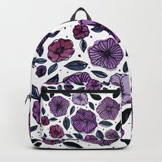Watercolor and ink flowers - purple Backpack / back to school