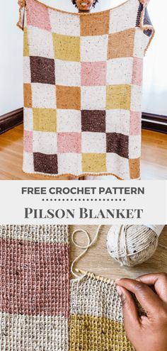 Crochet the Pilson Blanket, an easy crochet baby blanket pattern. This Tunisian crochet patchwork afghan is worked with worsted weight yarn in join as you go strips - no Tunisian crochet hook needed! Mix and match colors for a great stash buster. | TLYCBlog.com #tunisiancrochet #howtocrochet #crochetstitch #freecrochetpattern #crochetvideo #crochettutorial #babyblanket #patchwork