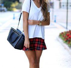 Plaid skirt with white shirt