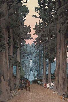 Avenue of Sugi trees, by Yoshida Hiroshi (1937.jpg