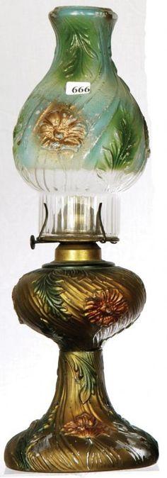 17 GOOFUS GLASS KEROSENE LAMP W/ MATCHING SHADE