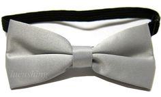 Boys Pre-Tied Bow Tie Magenta Gray Silver