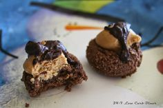 Buckeye Brownie Bites. Who doesn't love peanut butter and chocolate? Even better when it is glutenfree, sugarfree and low carb!
