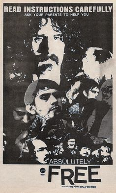 """The Mothers of Invention """"Absolutely Free"""" (1967) print ad for their second album"""