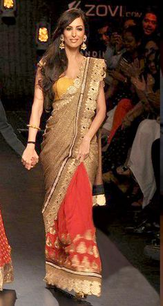 $118.55 Malaika Arora Lakme Golden and Peach Bollywood Saree 26681