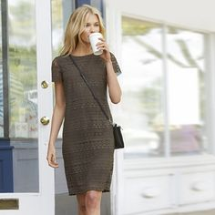 The White Company US. Lace Dress - Green   Geometric shapes and floral detailing give our new pure-cotton lace a modern update that works from day to night. Fully lined with short sleeves, this beautiful dress has a keyhole fastening at the back. Sure to be a wardrobe hero for the season ahead, we think this looks great with anything from ankle boots to sandals. Pinning from the UK? -> http://www.thewhitecompany.com/clothing/dresses-and-tunics/lace-dress--khaki/