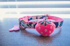 Pink or blue Floral french bulldog fabric cotton Dog collar, Custom dog collar, frenchie, girl boy dog collar, metal buckle, pet accessories