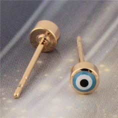 Teeny Tiny Blue 'Evil Eye' Studs