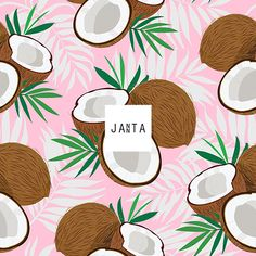 Seamless pattern whole coconut and piece with palm leaves on pink background, Vector illustration Coconut Vector, Royal Clan, Sad Wallpaper, Pattern Design, Lemon, Royalty Free Stock Photos, Tropical, Wallpapers, Illustration