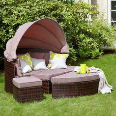 Polyrattan Sonneninsel Terrasse Garten Lounge Möbel Hocker | BACKYARDS |  Pinterest | Backyard And House