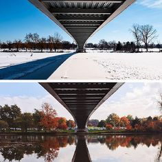 Colorful fall foliage and winter white. #TransformationTuesday Photos by @ryanredward. #IPFW #fall #winter #fortwayne #indiana