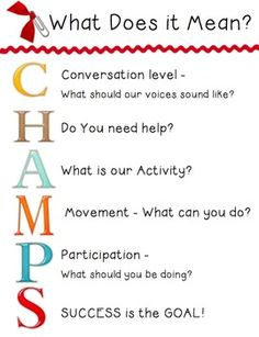 CHAMPS – Classwide Positive Behavior Support (PBS) by Randy Sprick  All teachers want their students to be orderly, responsive, engaged, and motivated. This is my classroom version of the charts that I use daily with my students.