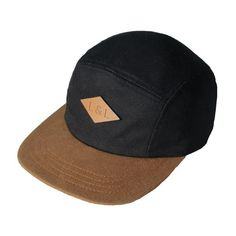 5-Panel Hat - Jet Black & Caramel   Little & Lively